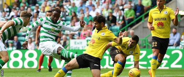 Moussa Dembele scores Celtic's opening goal