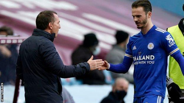 Brendan Rodgers with James Maddison