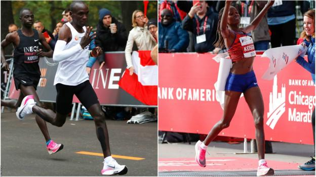 'It feels like running on trampolines' - Kipchoge & Kosgei's marathon trainers