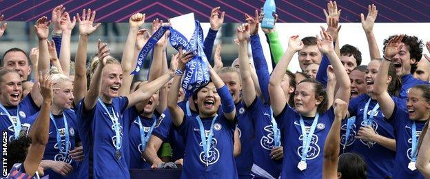 Chelsea lift the WSL title trophy