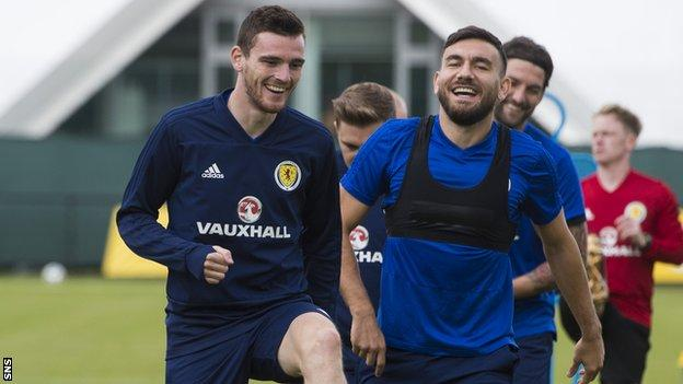 Scotland captain Andy Robertson in training