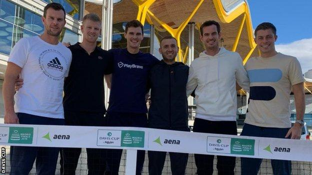Great Britain, led by captain Leon Smith (left), will be represented by Kyle Edmund, Jamie Murray, Dan Evans, Andy Murray and Neal Skupski