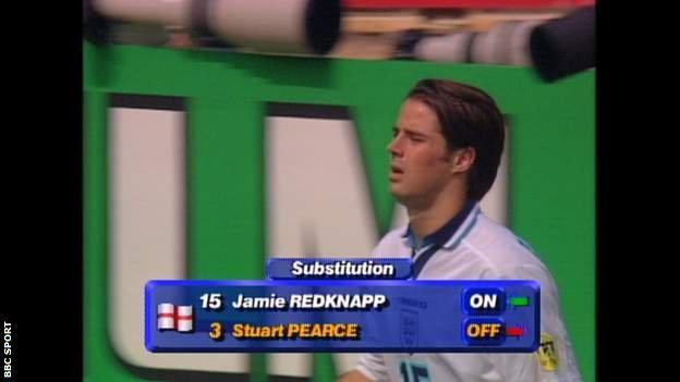 Jamie Redknapp replaced Stuart Pearce at half-time