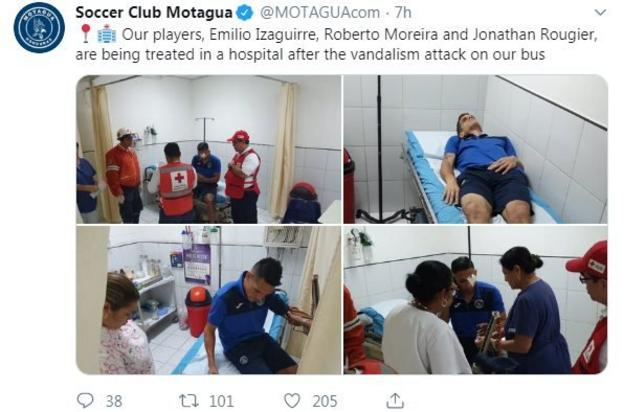 Motagua shared images of the club's players being treated for injuries