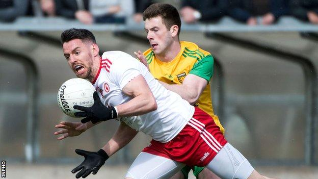 Donegal's Eoghan Ban Gallagher battles with Tyrone's Mattie Donnelly in last year's Ulster SFC contest