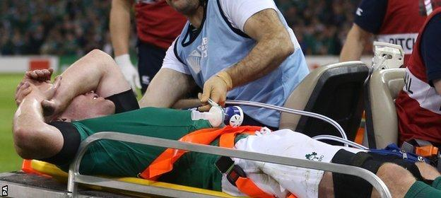O'Connell was carried off on a stretcher after tearing a hamstring against France