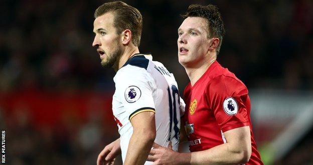 Man Utd defender Phil Jones and Tottenham striker Harry Kane