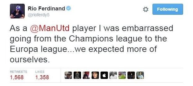 Former United centre-back Rio Ferdinand said the club should have higher aspirations than the Europa League