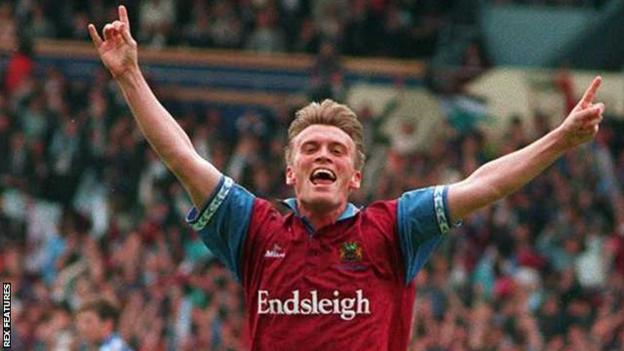 Gary Parkinson celebrates scoring for Burnley at Wembley as the Clarets beat Stockport County in the 1994-95 Division Two play-off final