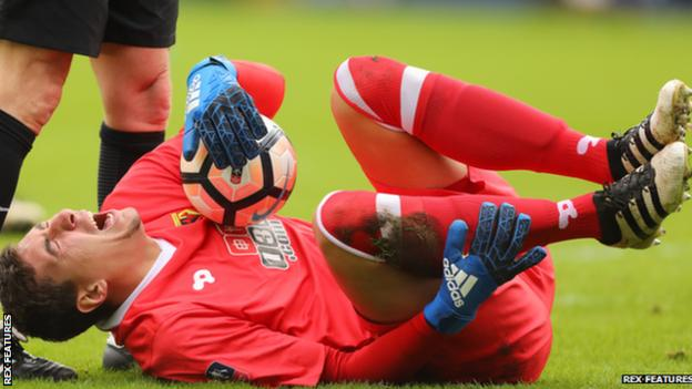 Watford keeper Costel Pantilimon had to be replaced after 42 minutes after suffering a suspected ankle injury