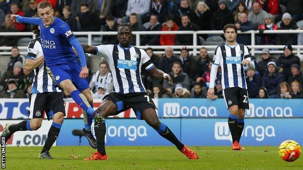 Jamie Vardy scores for Leicester at Newcastle