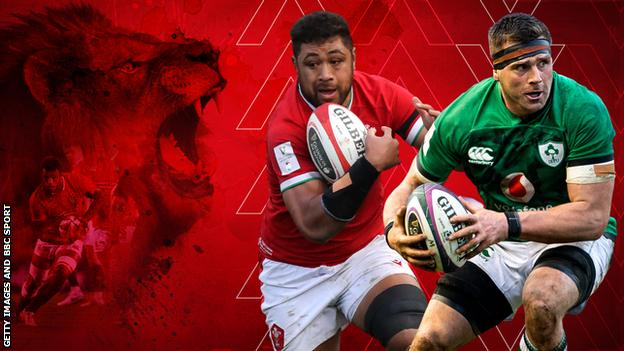 A graphic of a lion with pictures of Taulupe Faletau and CJ Stander