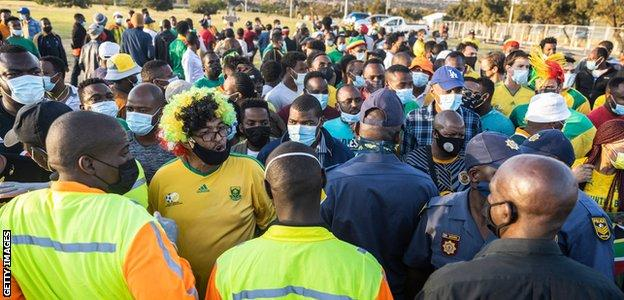 Fans are denied entry to the FNB Stadium
