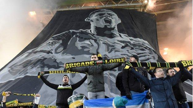 A giant tifo of Emiliano Sala