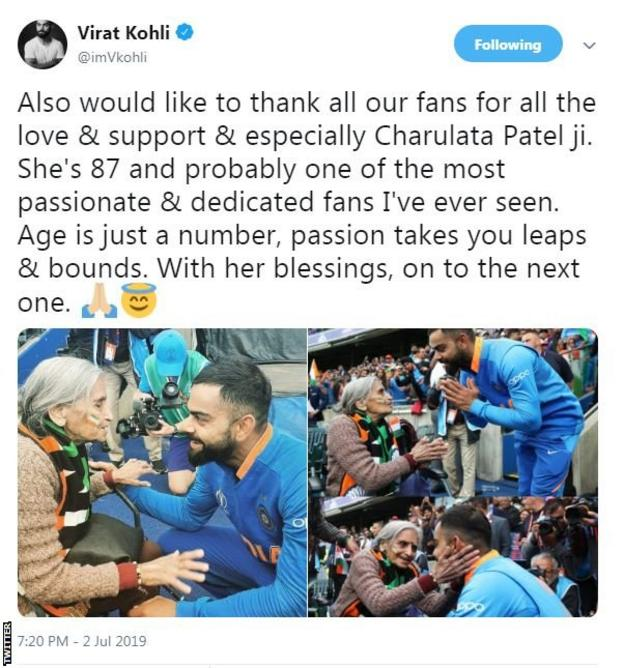 Virat Kohli tweet about meeting Charulata Patel
