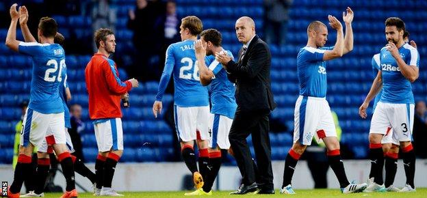 Mark Warburton and his Rangers players applaud the fans at full-time