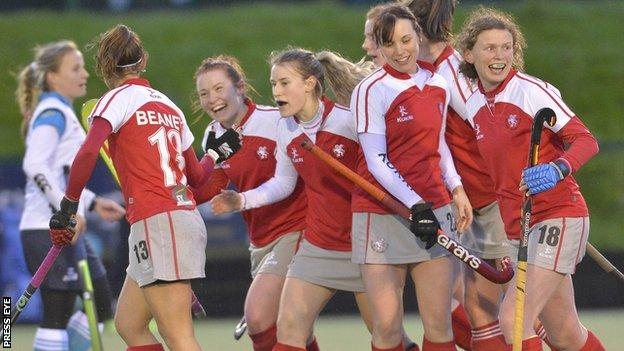 Pegasus celebrate their winning goal against Ulster Elks on Saturday