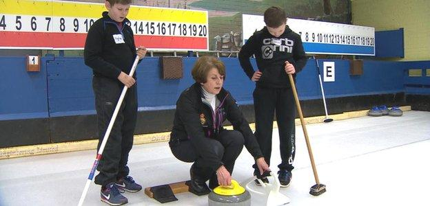 Marion Murdoch coaches youngsters at Lockerbie Curling Club