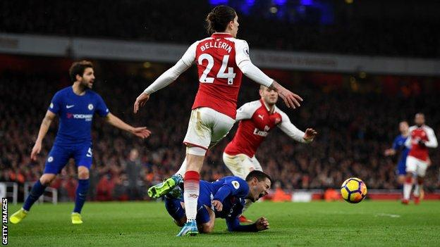 After the 2-2 draw Hazard was adamant Bellerin fouled him