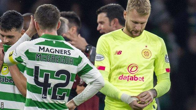Celtic goalkeeper Scott Bain (right) after the defeat to Cluj