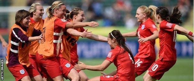 Fara Williams celebrates goal