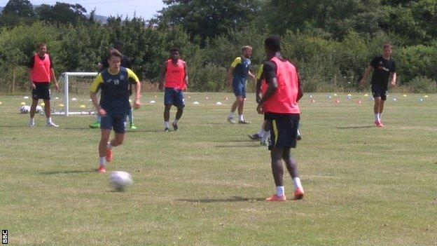Torquay United training at Seale Hayne