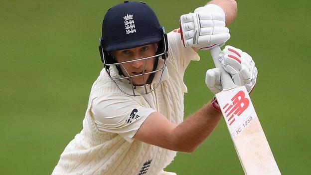 England captain Joe Root plays a shot