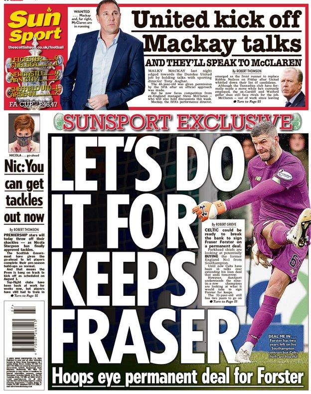 The Scottish Sun reports Celtic are looking to make goalkeeper Fraser Forster's loan move permanent