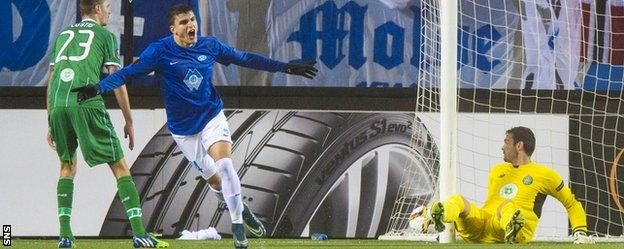 Molde's Mohammed Elyounoussi celebrates putting his side 3-1 ahead
