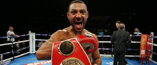 Kell Brook celebrates his IBF welterweight title