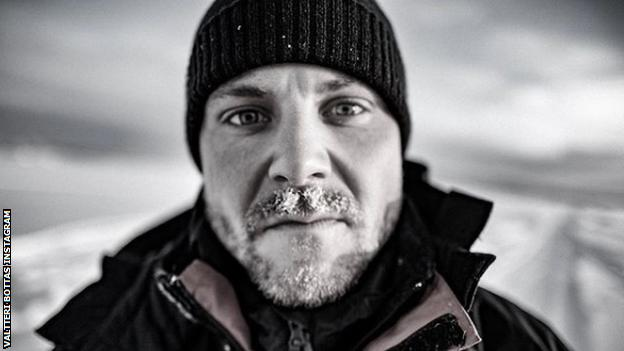 Valtteri Bottas with a snowy beard on Instagram