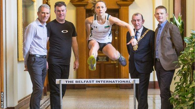 Kerry O'Flaherty at the launch of the Belfast International on Tuesday with Athletics NI president Gary Keenan, Beechmount Harriers official Eamonn Christie, Lord Mayor of Belfast Councillor Arder Carson and Irish Milers Club co-founder Brendan Hackett