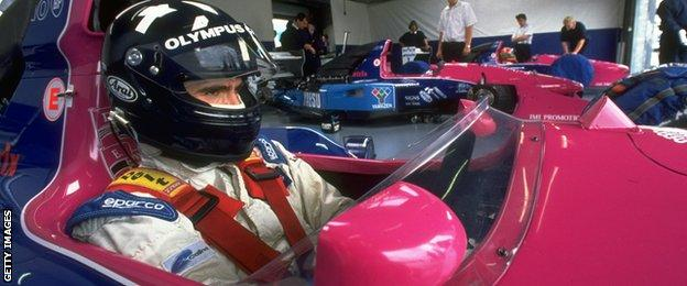 Damon Hill sits inside the Brabham BT60B Judd V10 during practice for the 1992 British Grand Prix