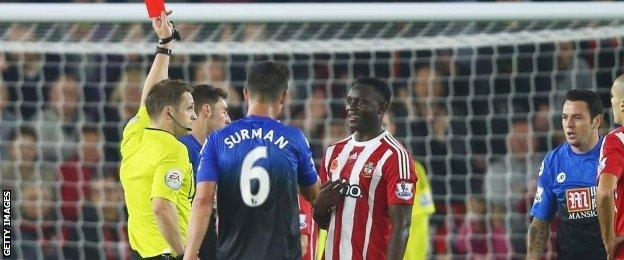 Victor Wanyama picked up his first ever red card in the Premier League