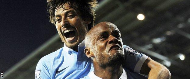 Man City duo David Silva and Vincent Kompany