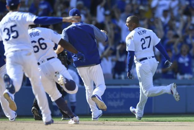 Matt Kemp of the Los Angeles Dodgers celebrates