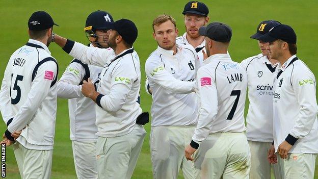 Danny Briggs celebrates the wicket of Steven Croft