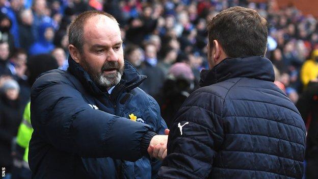 Kilmarnock boss Steve Clarke shakes hands with Rangers counterpart Graeme Murty