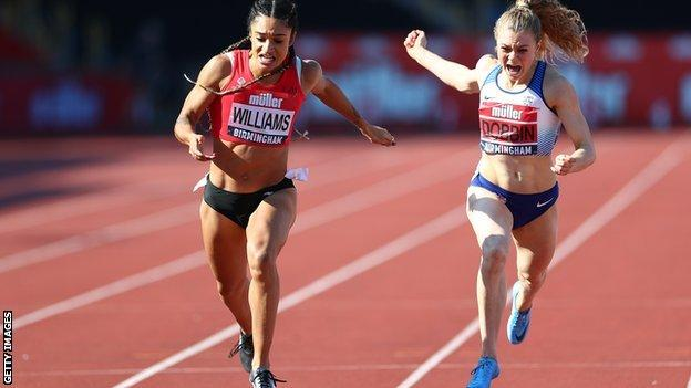 Beth Dobbin races against Jodie Williams in the 200m Muller British Athletics Championships