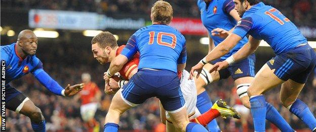 George North pounces for his try for Wales against France