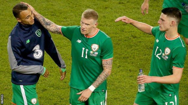 Graham Burke, James McClean and Declan Rice