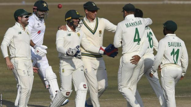 South Africa's cricketers celebrating during a recent test match against Pakistan