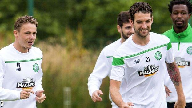 Celtic's Scott Allan and Charlie Mulgrew