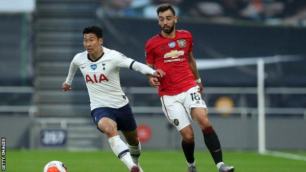 Bruno Fernandes tries to get the ball of Tottenham's Son Heung-min