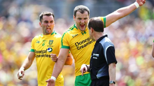 Karl Lacey and Michael Murphy make their feelings known to referee David Coldrick as Monaghan see off Donegal