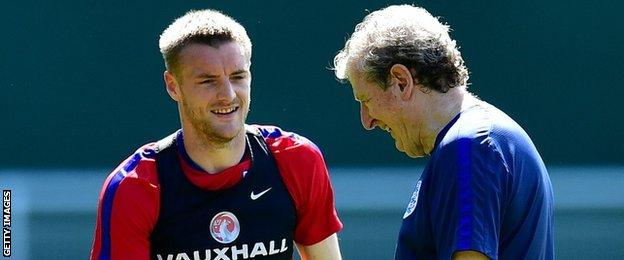 England striker Jamie Vardy with manager Roy Hodgson