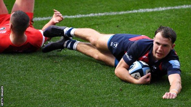 Ioan Lloyd scores Bristol's first try against Leicester