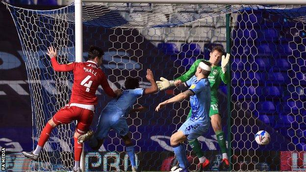 Grant Hall heads Middlesbrough's equaliser against Coventry City
