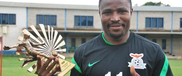 Christopher Katongo with his BBC trophy