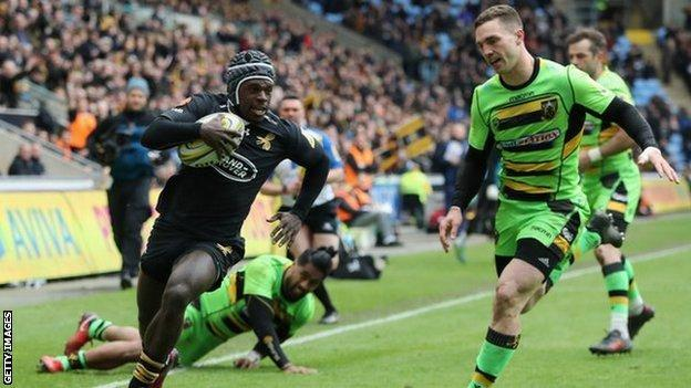 Christian wade scores a try for Wasps